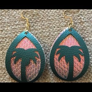 Palm tree faux leather earrings